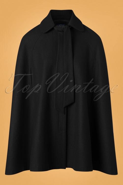 Collectif Clothing Caroline Cape Coat in Black 24785 20180704 0008W