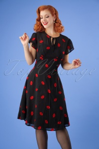 50s Valerie Kiss Tea Dress in Black