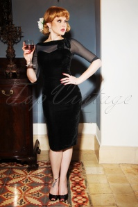 Vintage Diva Evelyn Pencil Dress in Black 26366 20180612 01W