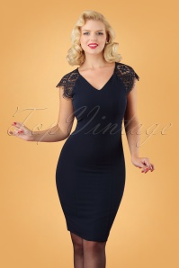 50s Lena Lace Pencil Dress in Navy