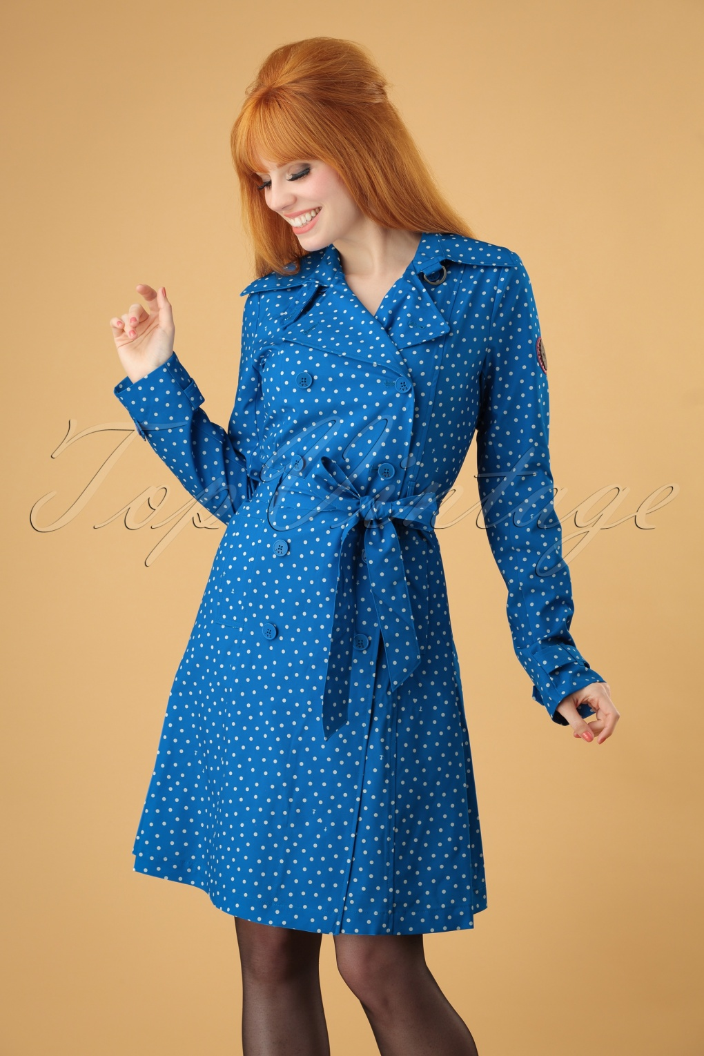 1960s Style Dresses, Clothing, Shoes UK 60s Casablanca Souvenir Trench Coat in Dot and Anchor Blue £69.75 AT vintagedancer.com