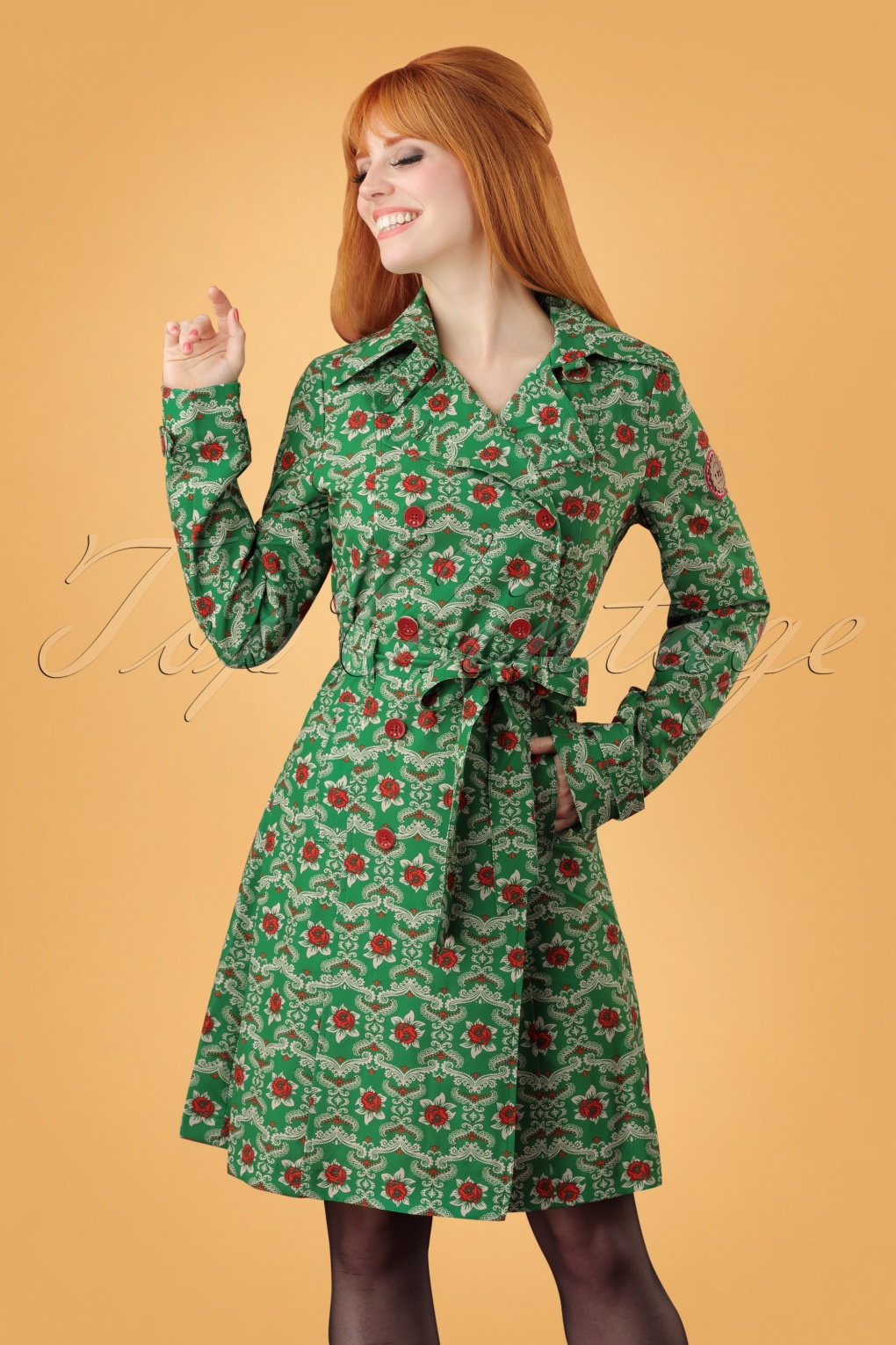 1960s Style Dresses, Clothing, Shoes UK 60s Casablanca Souvenir Trench Coat in Highnoon Saloon Green £70.48 AT vintagedancer.com