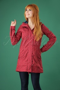 Blutsgeschwister 60s Wild Weather Long Anorak in Dot and Love Red
