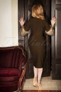 Vintage Diva the Femme Fatale Pencil Dress in Brown 26361 20180612 2W