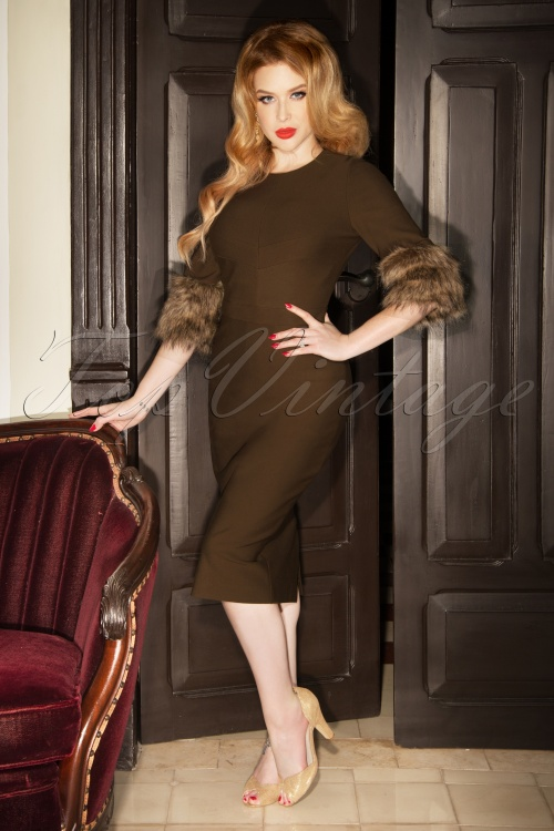 Vintage Diva the Femme Fatale Pencil Dress in Brown 26361 20180612 1W