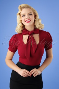 50s Bonnie Tie Neck Top in Wine