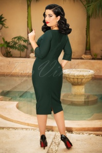 Vintage Diva Sarah Bow Pencil Dress in Green   20180613 0006W
