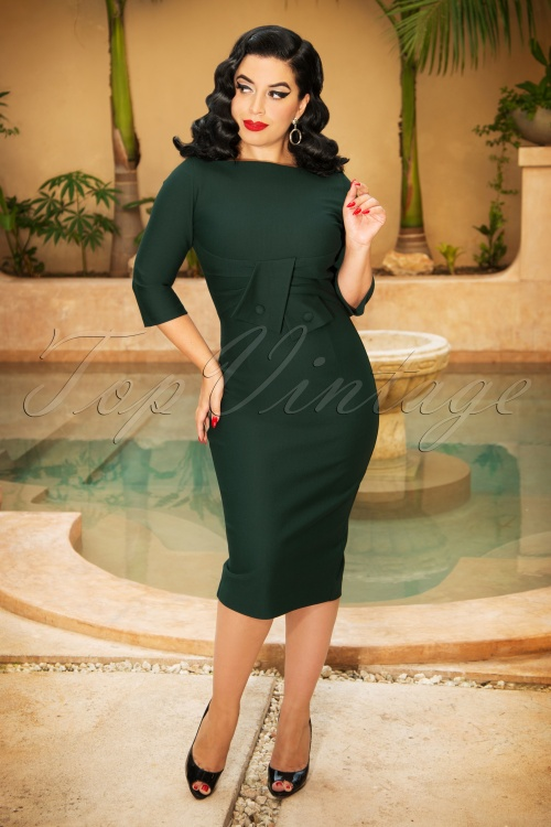 Vintage Diva Sarah Bow Pencil Dress in Green   20180613 0005W