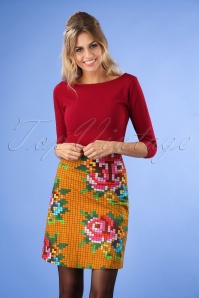 60s Pixel Rose Skirt in Gold Yellow