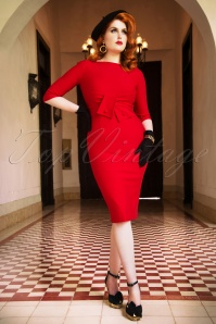 Vintage Diva Sarah Bow Pencil Dress in Red 26368 20180613 0008W