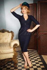 Vintage Diva Stella Pencil Dress in Midnight Blue 26373 20180612 0009W