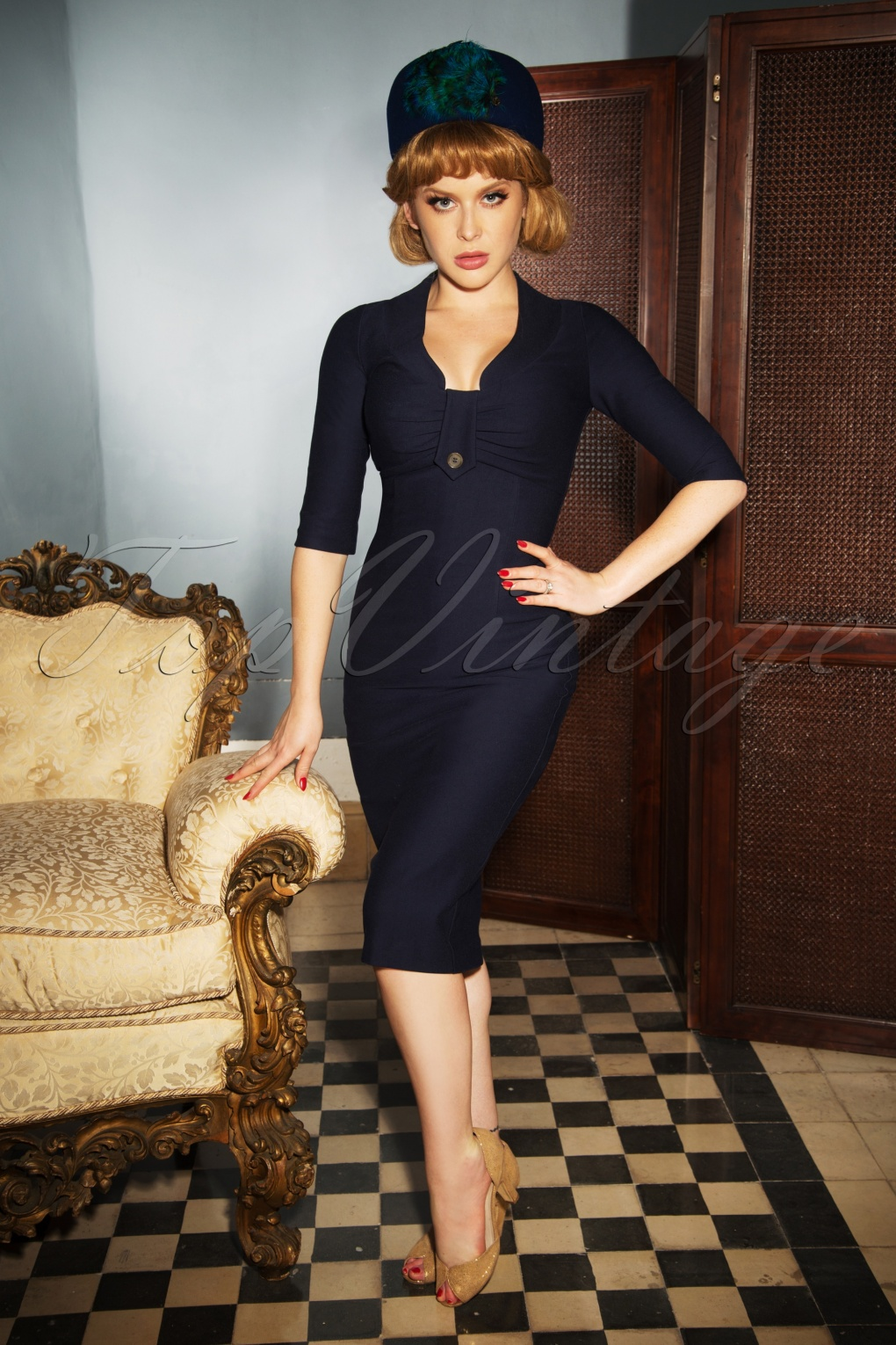 70s Dresses – Boho, Hippie, Disco, Wrap Dresses The Stella Pencil Dress in Midnight Blue £105.03 AT vintagedancer.com