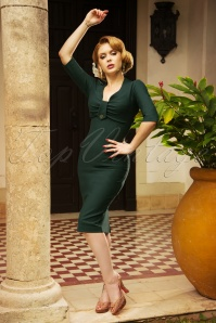 The Stella Pencil Dress in Forest Green
