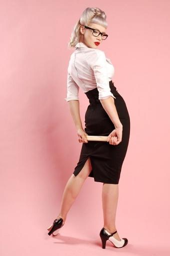 pinup couture military secretary black white dress
