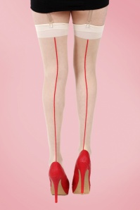 40s Jive Stockings in Nude and Red