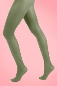 60s Opaque Tights in Leaf Green