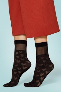 50s Date Heart Socks in Black