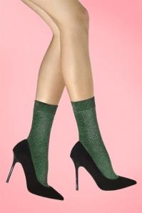 70s Dreamer Glitter Socks in Green