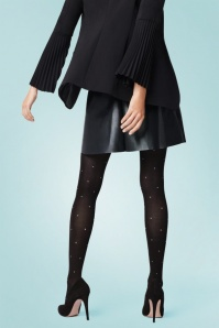 Fiorella Baci White Dotted Tights in Black