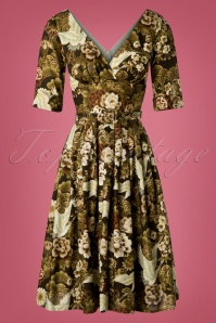 TopVintage Exclusive ~ 50s Frida Cranes Swing Dress in Brown