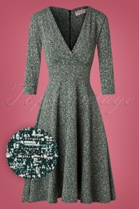 50s Rosie Swing Dress in Green Melange