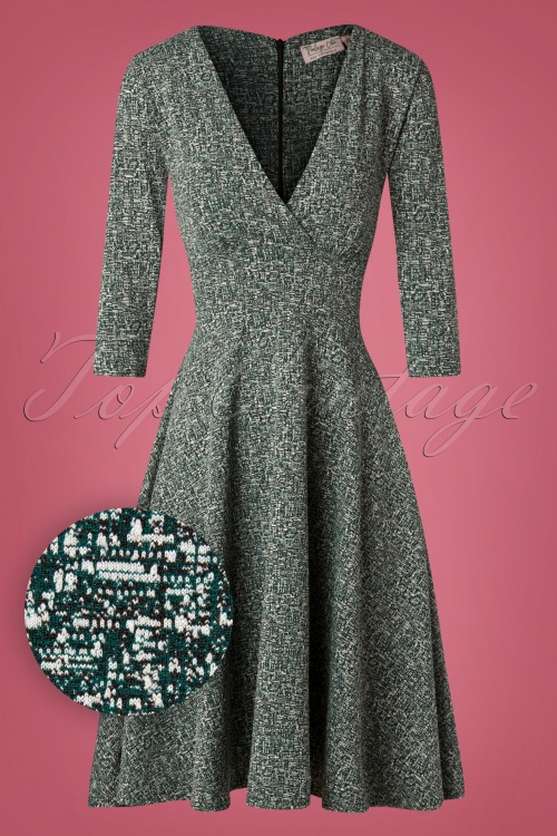 Vintage Chic Green Tweed Fabric Dress 102 49 27795 20181011 0352W1