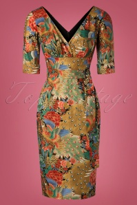 TopVintage Exclusive ~ Rita Peacock Pencil Dress Années 60 en Multi