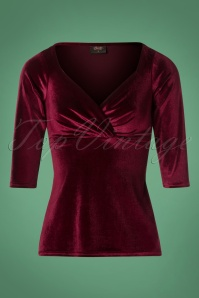 Steady Clothing Velvet Long Top in Burgundy 113 20 26971 20181010 0002W