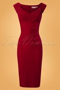 50s Lynn Velvet Pencil Dress in Red