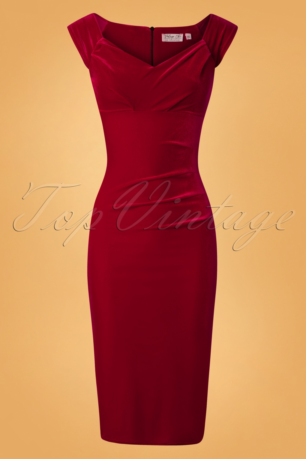 Vintage Style Dresses | Vintage Inspired Dresses 50s Lynn Velvet Pencil Dress in Red £50.78 AT vintagedancer.com