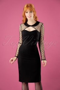 50s Hollywood Pencil Dress in Black