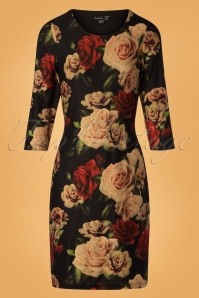 Smashed Lemon Black Foral Roses Dress 100 14 26126 20181012 0001W