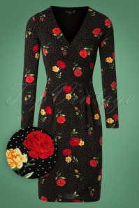 50s Fiona Polkadot and Roses Pencil Dress in Black