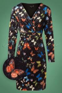 Smashed Lemon Black Multicolor Butterfly Velvet Dress 100 14 26124 20181012 0001W1