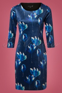 Smashed Lemon Blue Floral Velvet Dress 100 39 26122 20181012 0002W