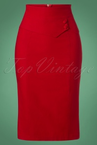Bernice Pencil Skirt Années 50 en Rouge