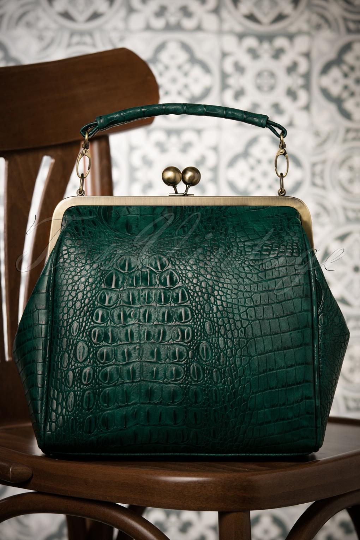 Vintage & Retro Handbags, Purses, Wallets, Bags 50s Mindy Crocodile Tears Handbag in Green £53.04 AT vintagedancer.com