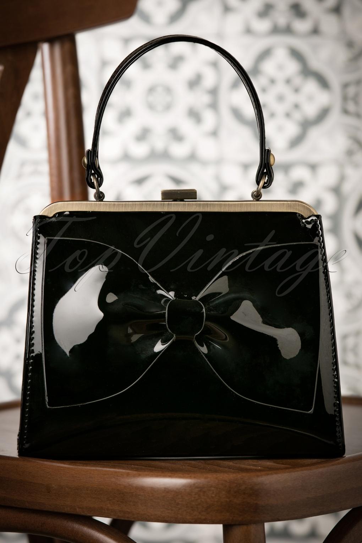 Vintage & Retro Handbags, Purses, Wallets, Bags 50s Inez Always By My Side Handbag in Black £53.40 AT vintagedancer.com