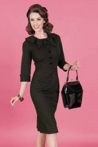 50s CEO Pencil Dress in Plaid