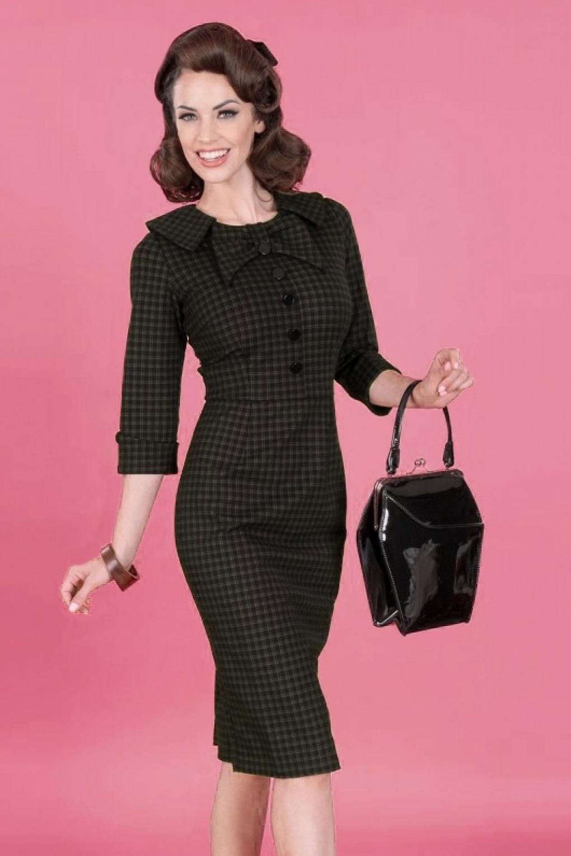 Plus Size Swing Dresses, Vintage Dresses 50s CEO Pencil Dress in Plaid £146.98 AT vintagedancer.com