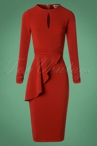 50s Cristina Pencil Dress in Rust