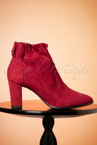 60s Pixie Suede Ankle Booties in Deep Red