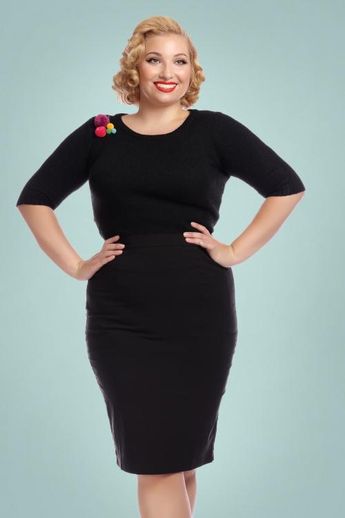 3b5d18cf27 Collectif Clothing Polly Plain Bengaline Pencil Skirt 16177 1