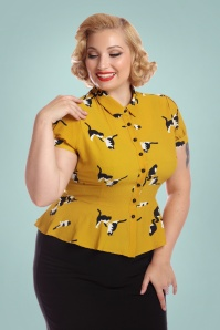 Collectif Clothing Mary Grace Kitty Cat Print Blouse 27983 1