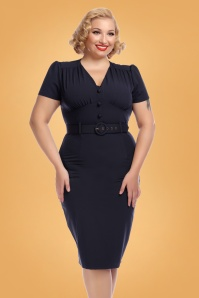 Collectif Clothing Bethany Pencil Dress Navy 24895 1