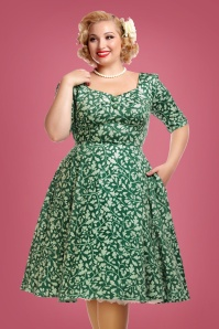 Collectif Clothing Dolores Half Sleeve Leafy Doll Dress 24829 1