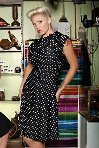 50s Bridget Polkadot Bombshell Dress in Black