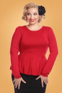 Collectif Clothing Jenni Peplum Jumper Red 24793 1