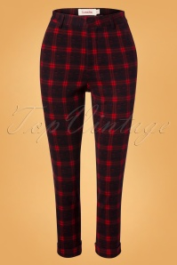 60s Jaylo Plaid Trousers in Red and Black