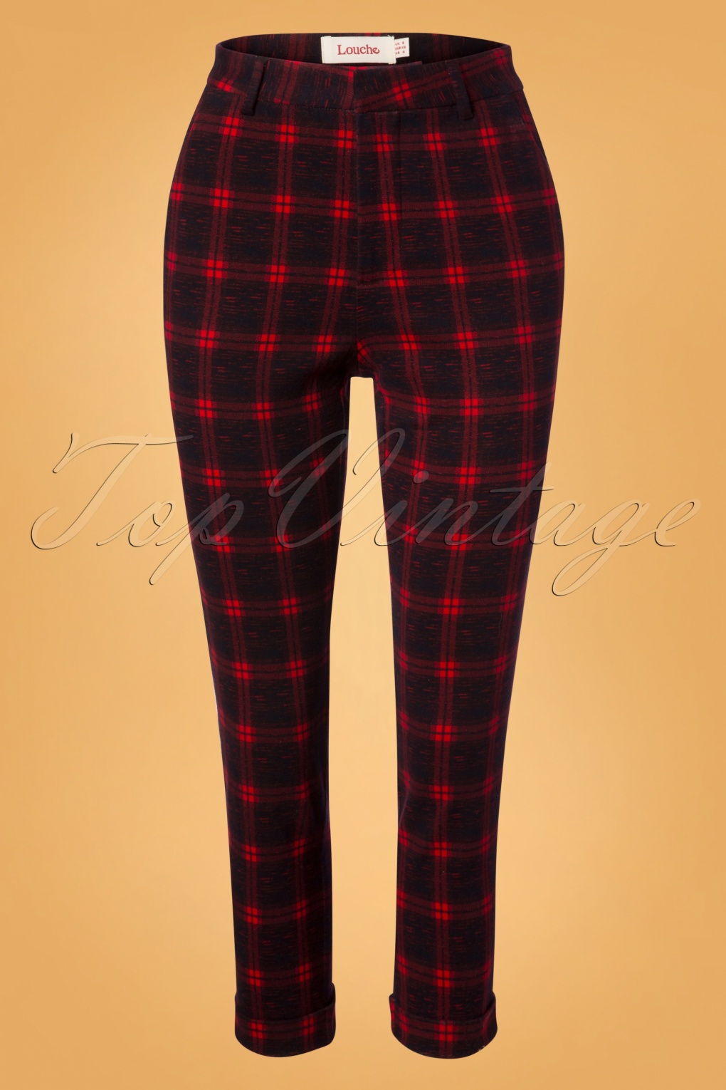 Vintage High Waisted Trousers, Sailor Pants, Jeans 60s Jaylo Plaid Trousers in Red and Black £57.07 AT vintagedancer.com